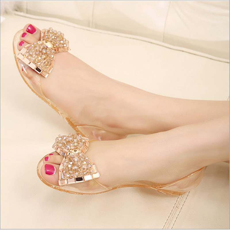 Summer beaded diamond bow sandals jelly shoes transparent crystal resin plastic shoes flat shoes sandals free shippingTX-06(China (Mainland))