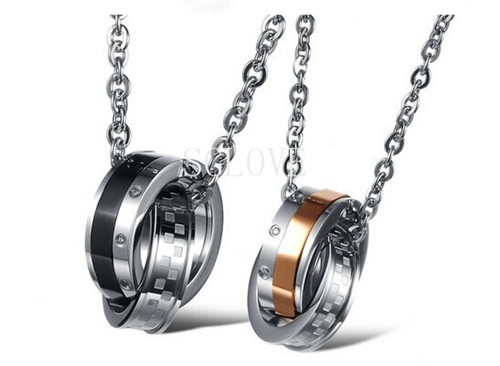 SGLOVE-JEWELRY Free Shipping Titanium Steel Couple Necklace Double Circle Pendent Necklace, Modern Fashion Europe Jewelry(China (Mainland))