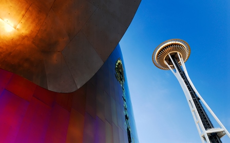 Space Needle Tower Metal seattle science architecture landscape 4 Sizes Wall Decor Canvas Poster Print(China (Mainland))