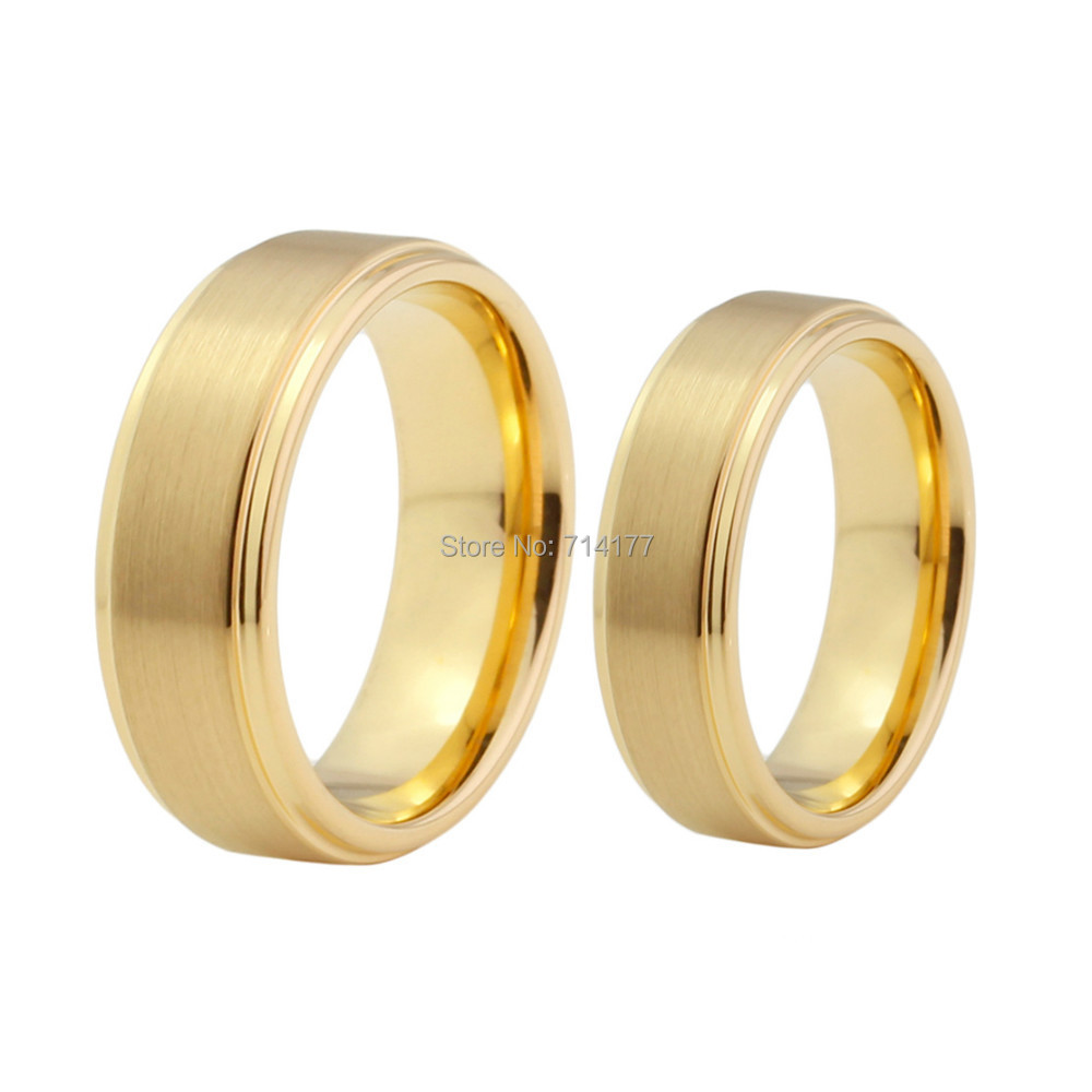8Mm Tungsten Carbide Wedding Ring Band Gold Plated Stepped Edge Brushed Center In Rings From