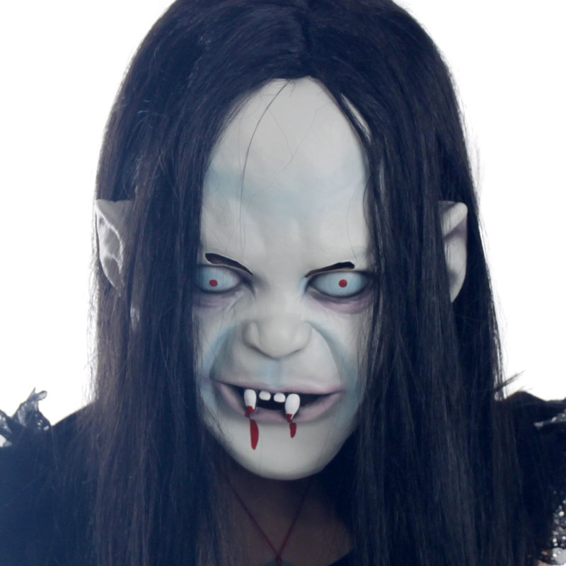Hot 2014 novelty Props Artificial hair+Rubber caps Halloween witch ghost vendetta Sadako pullover horror masks scary party - ZhuFuXing Zhu's store