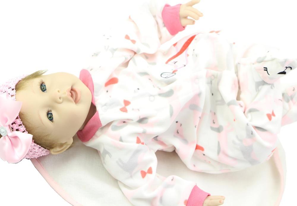 Fashion 22 Inch NPK Doll Soft Silicone Reborn Baby Doll Wearing Red Stripe Clothes Cloth Body Doll For Children<br><br>Aliexpress