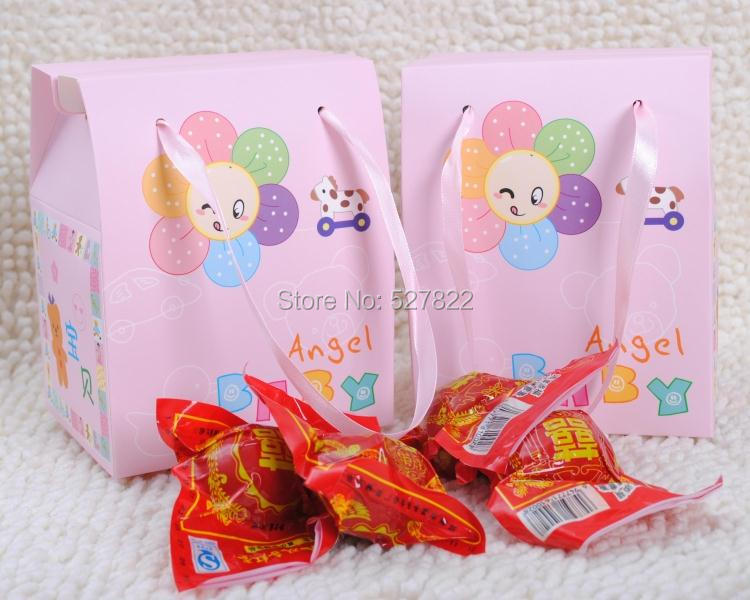 """Free Shipping New 100 PCS Pink Baby Shower Candy Gift Bag Party Baby Angel Favor Box Small SIZE 2 4/5"""" X 3 1/2"""" X 5""""(China (Mainland))"""
