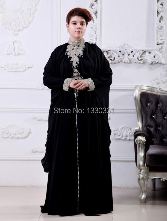 Arabic Dress Real Sample High Collar Full Sleeve Shining Crystal Dinner dress Caftan Dresses for holiday(China (Mainland))