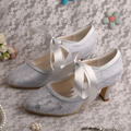 Wedopus Custom Color Dropshipping High Quality Women s Wedding Shoes Silver Lace with Ribbon
