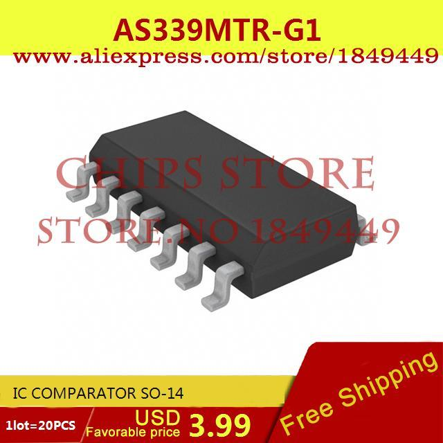 Free Shipping Electronic Components AS339MTR-G1 IC COMPARATOR SO-14 339 AS339 20pcs(China (Mainland))