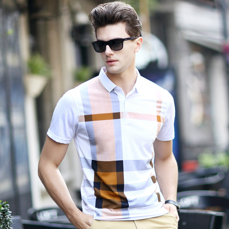 2016 New Luxury Quality Men Business Polo Shirts Striped font b Plaid b font Manly Polos