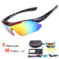 Sports cycling sunglasses with 5 Set Interchangeable Lenses for Biking Fishing Running Driving Golf Baseball