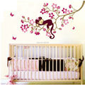 New Animal Wall Window Funny Sticker Paper Vinyl Decal Removable Monkey Peach Leaves