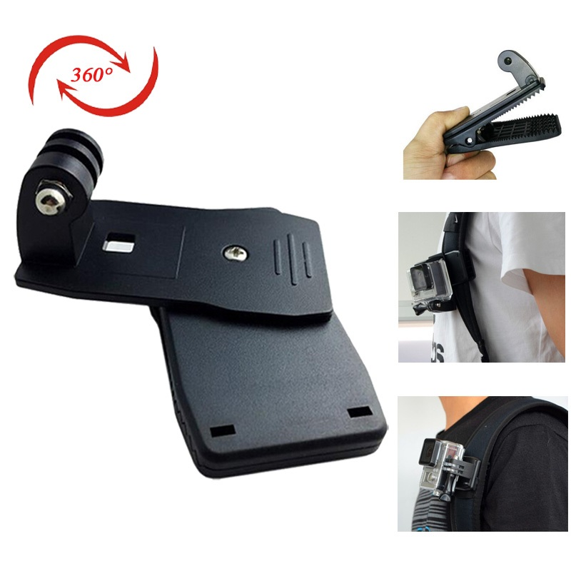 Sport Camera Accessories Rotary Backpack Clip Clamp Mount Holder for Gopro Hero4 Hero 3+ 4 SJCAM SJ4000 SJ5000 SJ6000 Action Cam(China (Mainland))