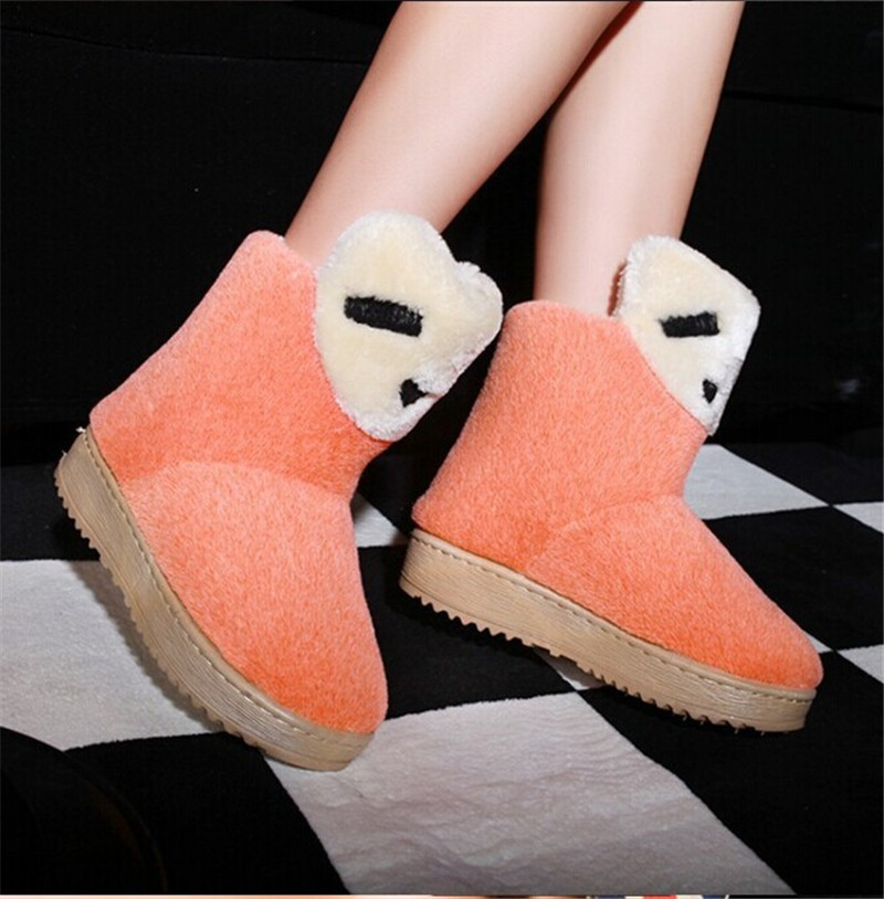 New 2015 Fashion Women Snow Boots Cute Bear Candy Color Plush Warm Shoes Winter Women Ankle Boots Free Shipping(China (Mainland))