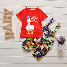 2016 New Summer Wear Baby Boy Clothing Set Boy Sports Suit Set Clothing Children Causal Clothes T Shirt+Bib Pants Kids Clothing