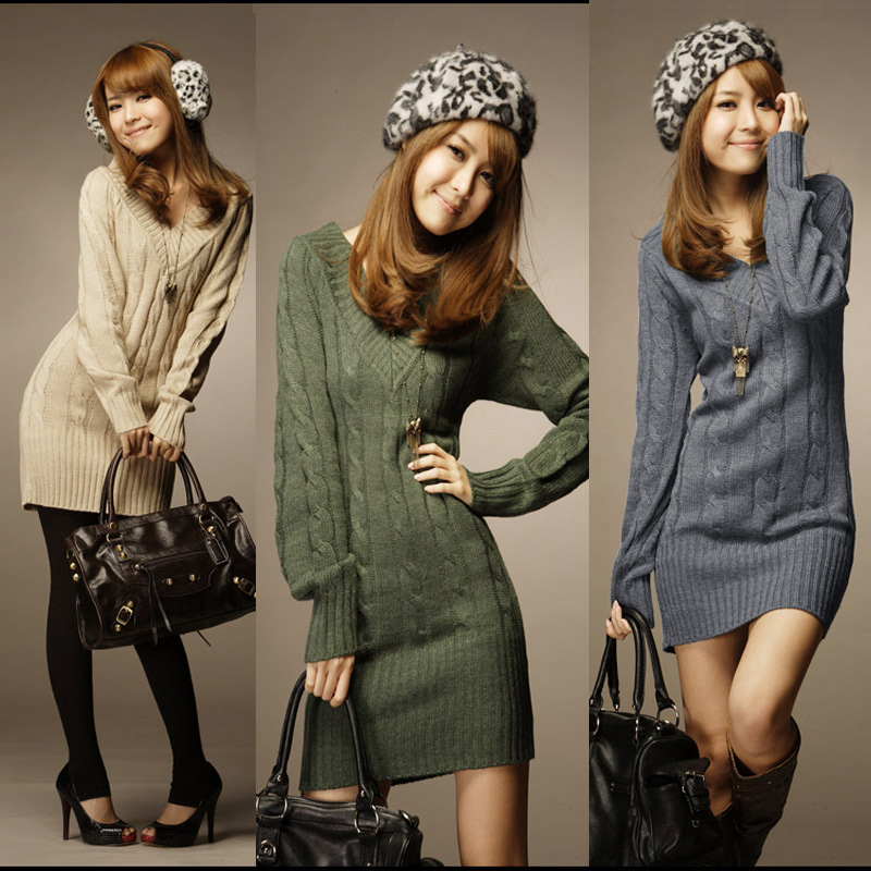 New Design Long Sweaters 2015 Autumn Winter Women Fashion Pullovers Jumper Fall 3 Solid Color V-Neck Basic Knitted Sweater Dress(China (Mainland))