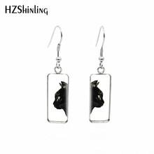 2019 nouveau Chat avec fleurs boucle d'oreille rectangulaire chats noirs carré poisson crochet boucles d'oreilles Chat Noir oreille anneau bijoux en verre(China)