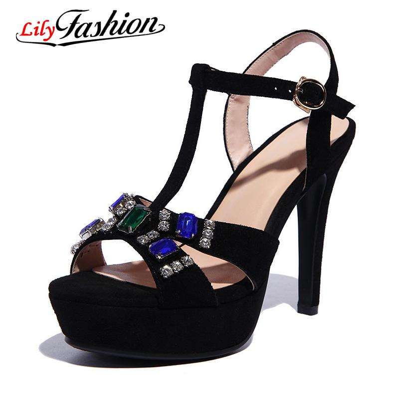 2016 Womens sandals Sexy Women High heels Sandal Ladies heel Shoes Sandals Fashion Woman Summer leather Heels Platform  AH251