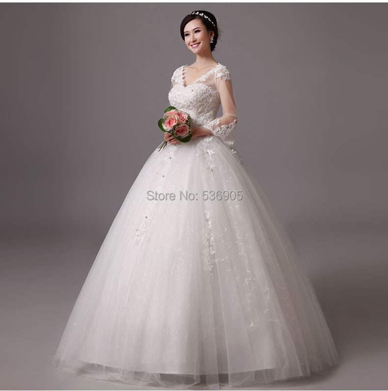 AY 22 V Neck Plus Size New Arrivals Ball Cheap Korea Country Wedding Dress Br