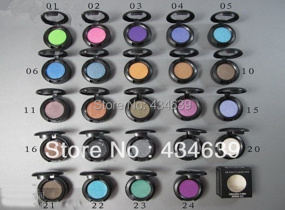 12PCS/LOT Hot sale Professional brand makeup single eye shadow pigment glitter eye shadow 1.5g 24 different colors free shipping(China (Mainland))