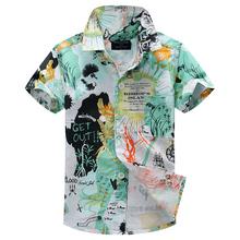 cotton 100% floral shirt hawaiian shirt aloha shirt for boy T1522