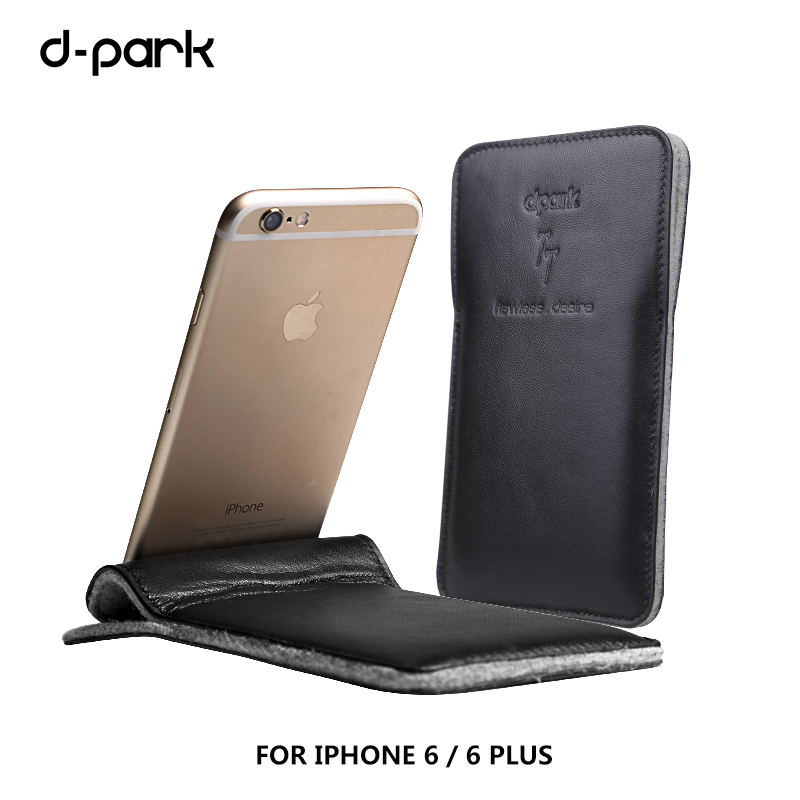 D-park Fashion Genuine Lambskin Leather & Wool felt Case Cover For iPhone 6 4.7 inch for iphone 6 Plus 5.5 inch bags Sleeve Free(China (Mainland))