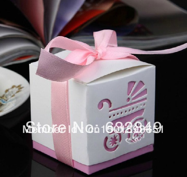 2015 New Cute Pink Baby Carriage Favor Candy Box Wedding Gift Boxes Party Sweet 10+ - Yiwu Wedding&Baby Favors store