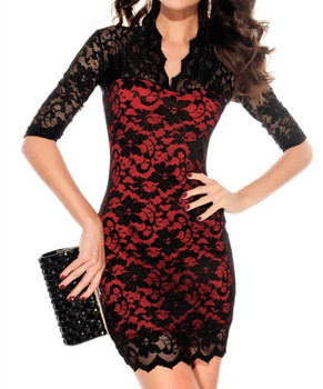 New Arrival !! Sexy Fashion Clothings Slim Women's Lace Dress Scalloped Neck 3/4 Sleeve Dress