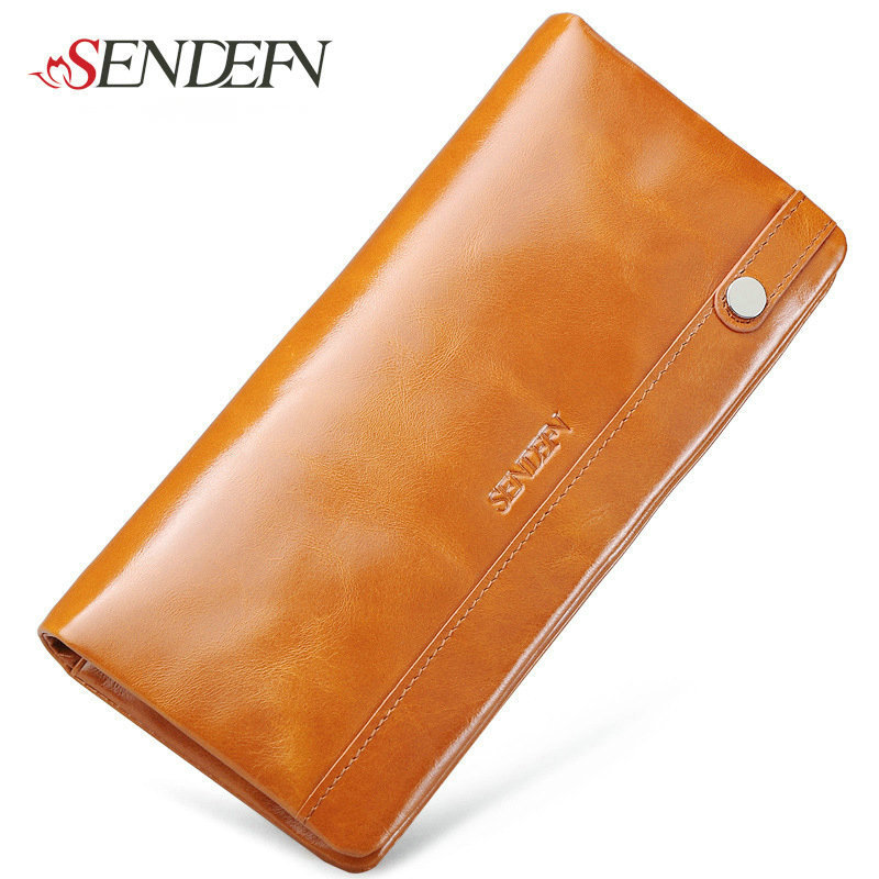First Layer Leather Phone Wallet Long Brand Thin Cowhide Real Leather Women Wallet Coin Purse Zipper Credit Card Holders Money<br><br>Aliexpress