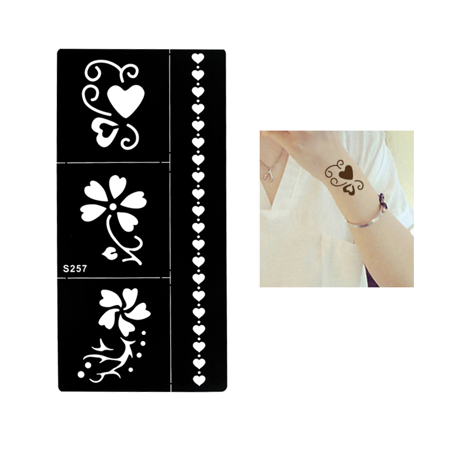 1 Sheet Temporary Black Henna Indian Heart Flowers Glitter Stencil Tattoo Bracelet Lace Women Body Art Tattoo Sticker Paper S257(China (Mainland))