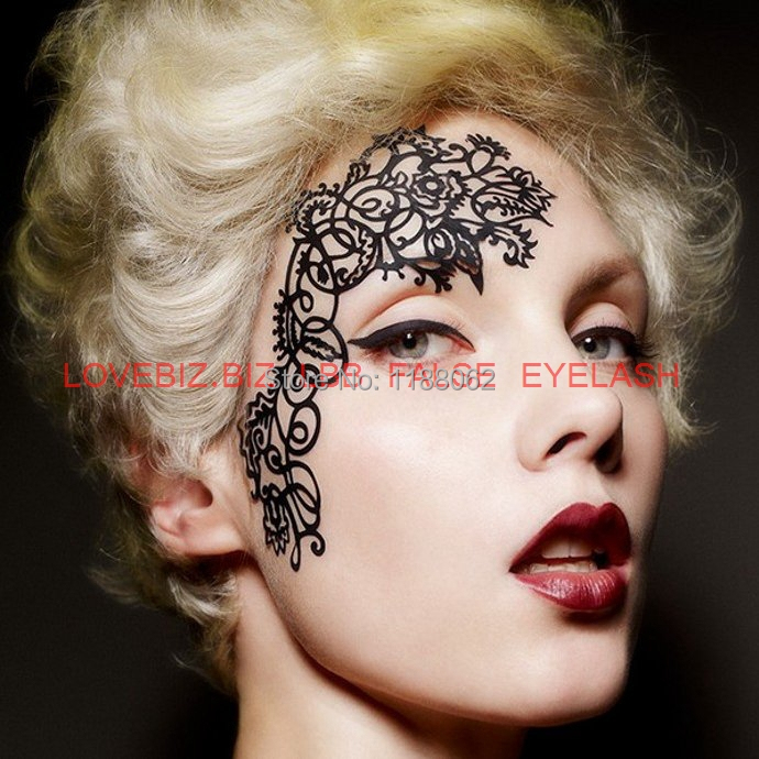 1 piece face lace eye shadow sticker yt01 makeup artistic for Face tattoo makeup