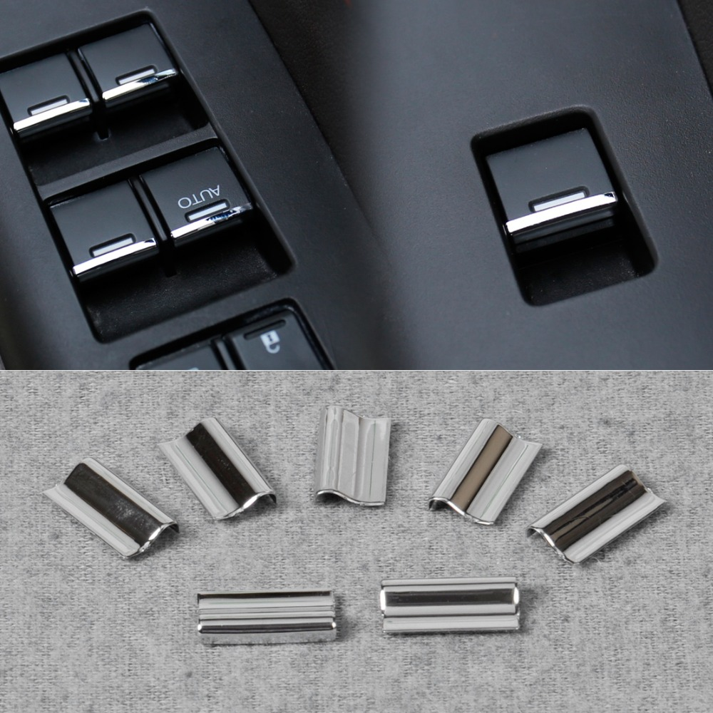 New 7pcs chrome door window switch lift button cover trim for 2002 honda accord window switch