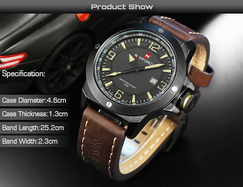New Mens Watches Top Brand NAVIFORCE Luxury Men Quartz Watch Casual Sport Military Watches Male Leather Clock Relogio Masculino