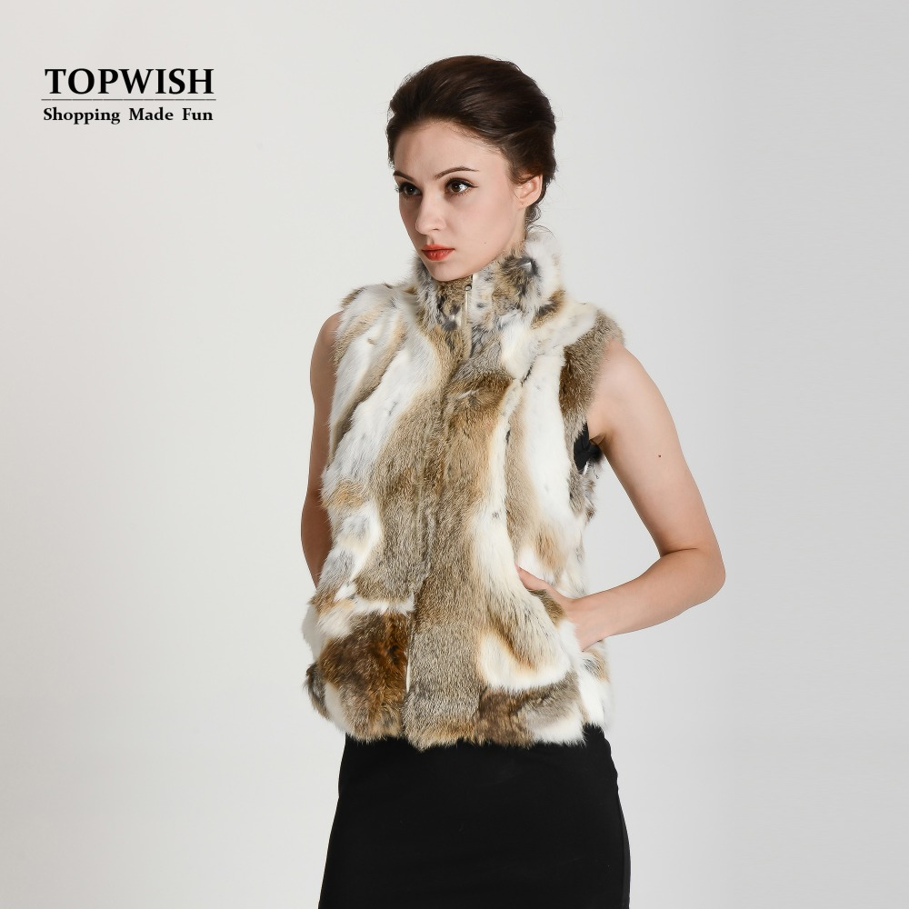 2017 New Arrival Real Rabbit Fur Vest Zipper Fur Vest Lady female winter vest fashion free shipping THP400(China (Mainland))