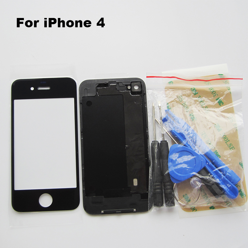 Black Battery Cover iPhone 4 4G Back Door Rear Panel Plate Glass Housing Replacement & front glass 3M sticker Tool - Cell Phone Repair store