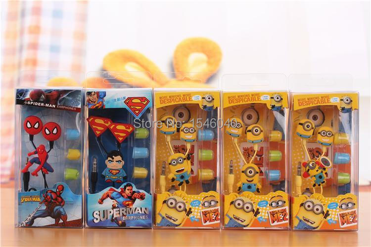 High Quality MR Minion / Superman / Spiderman style In-Ear Wired Headphone headset Remote&MIC Earphone For IPHONE Samsung S3 MP3