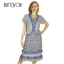 BFDADI Летнее платье 2016 горячая продажа свободного покроя цветочный принт платье поддельное из двух пьес маленькие воланами подол женские пла...(China (Mainland))