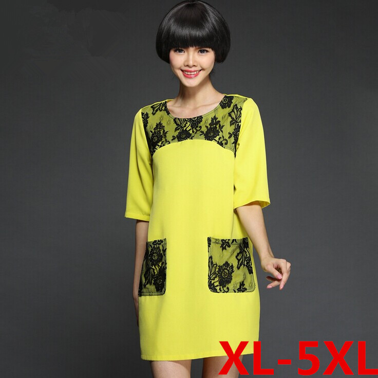 Xl 5xl size ladies dress 2015korean style extra plus size for Chaise patchwork xl style
