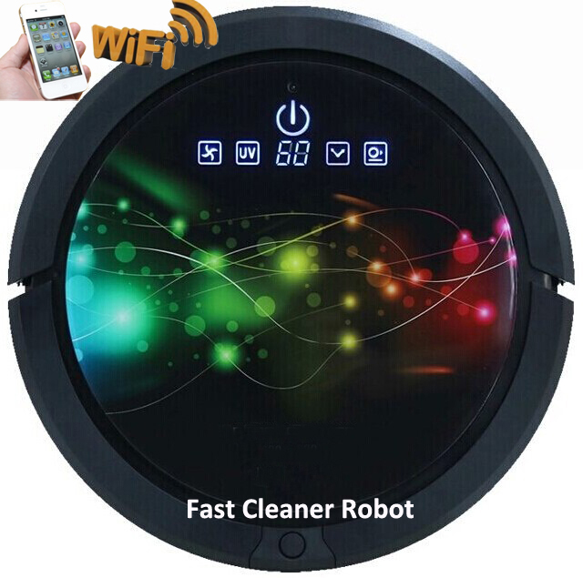 WIFI Smartphone App Control Powerful Home Vacuum Cleaner Robot With 150ml Water Tank Independent Wet Mop and Dry Mop Part(China (Mainland))