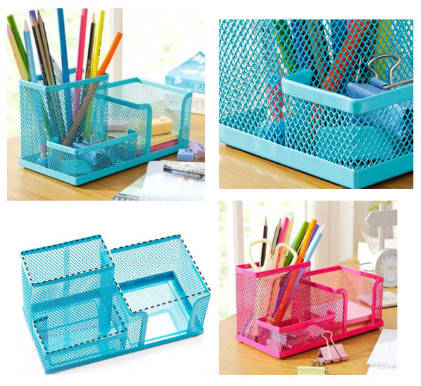 New Metal Office School Study Desk Pen Pencil Card Stationery Holder Organizer Storage Tidy(China (Mainland))