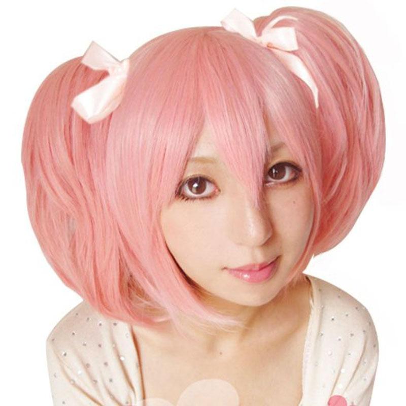 Hair Cap+Handmade Puella Magi Madoka Magica Madoka Puffy Cosplay Wig + Two Ponytails Pink For Halloween Party(China (Mainland))
