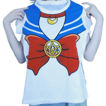 2016 new Hot Sailor moon harajuku t shirt women cosplay costume top kawaii fake sailor t
