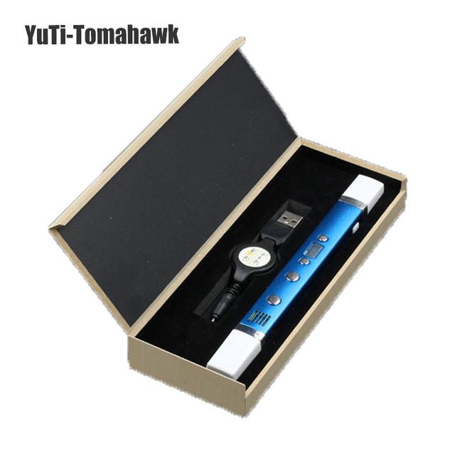 2016 Новые 3D Ручка USB Plug 5 В 2A Творческий Caneta Pen 3D граффити ручка Цифровой 4 регулирование скорости Лучший Подарок Для Детей