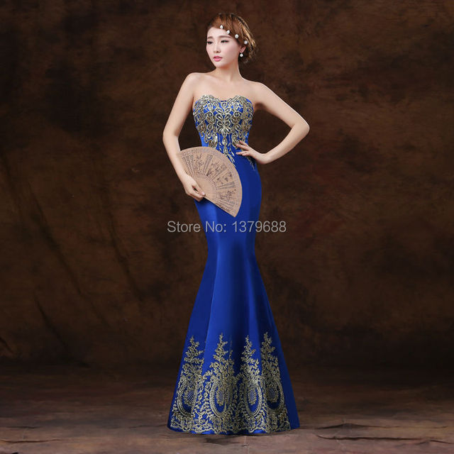 2016 новый дизайн элегантные вечерние платья аппликации без бретелек платья вечернее ...