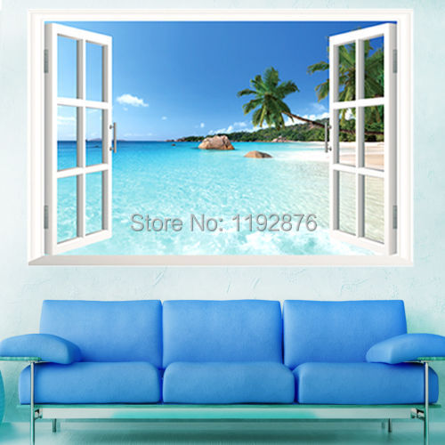 90*60CM Removable Beach Sea 3D Window View Scenery Wall Sticker Decor Decals WS(China (Mainland))