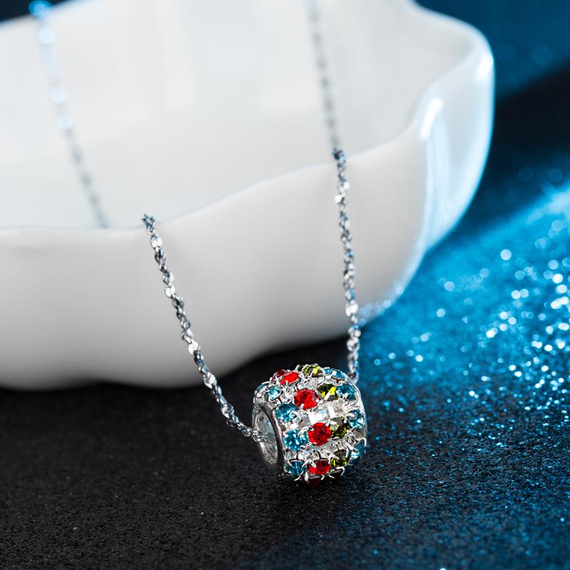 2016 Fashion white gold Plated Necklace Pendant Transfer Beads Women Jewelry ball pendants Wholesale(China (Mainland))