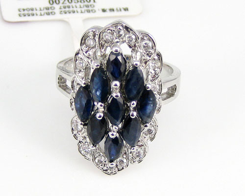 New 2014 Black Blue color 9pcs Natural sapphire stone rings 925 sterling silver  for women exaggerated personality fine jewelry<br><br>Aliexpress