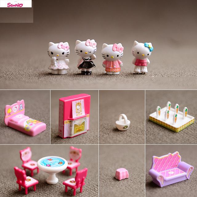 wholesale Sanrio original genuine bulks 15pc cute japanese hello Cute KT cat doll Furniture kids toys for girls Christmas gift(China (Mainland))
