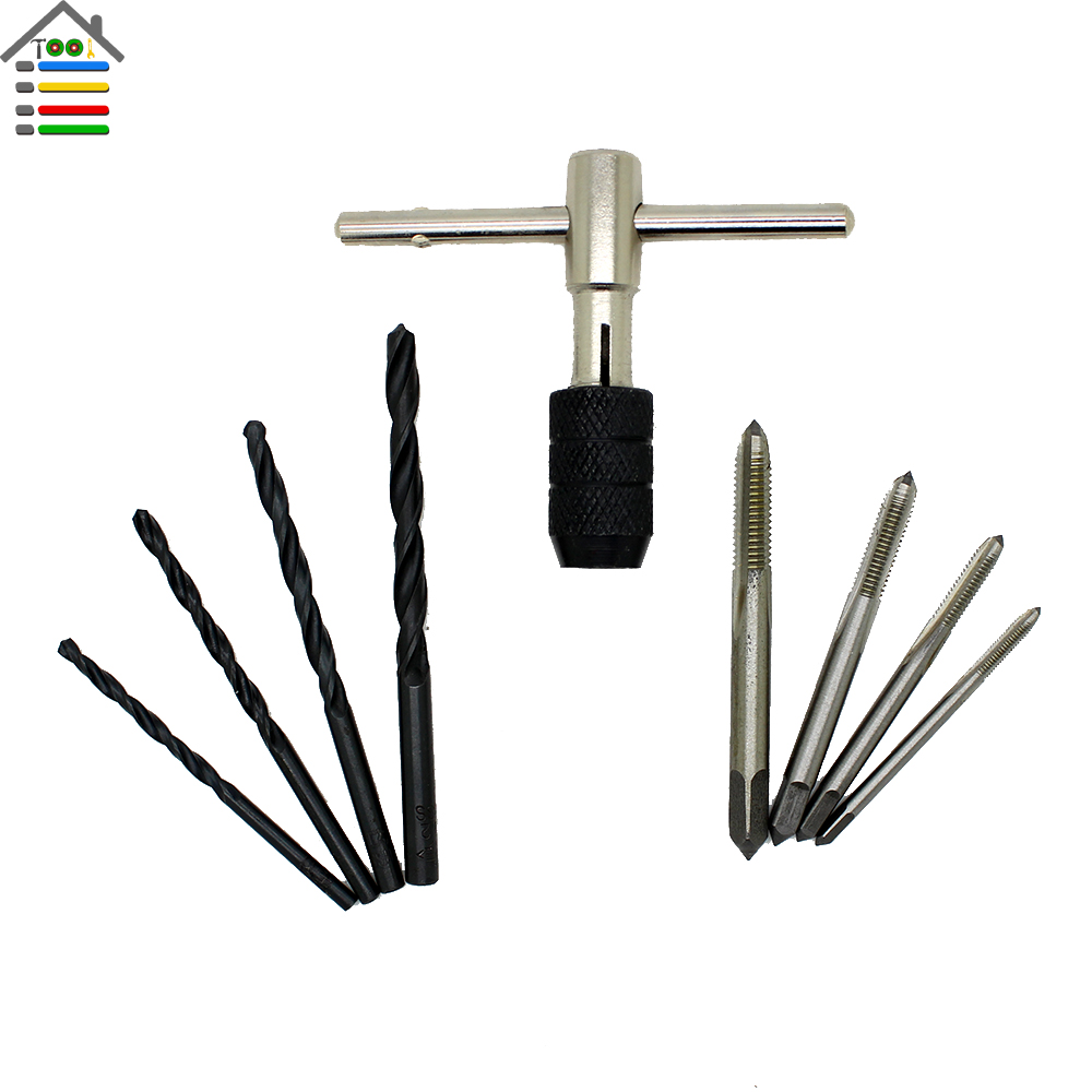 9pc/Set T Type Tap Reamer HSS 3/4/5/6mm Hand Machine Screw Threads Taps With 4pcs Twist Drill bits Right T-handle Wrench(China (Mainland))