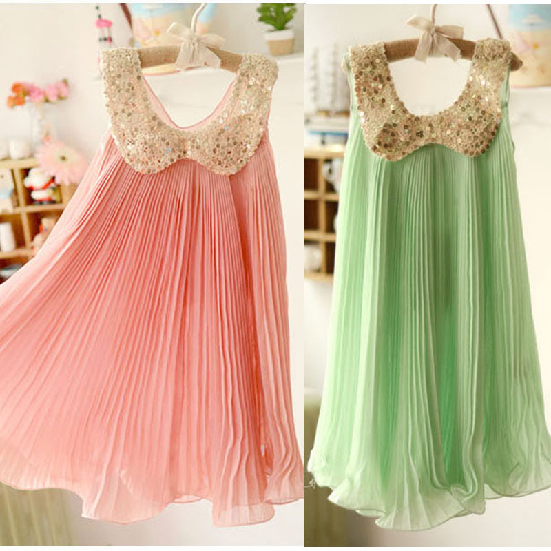 Hot sale! 2015 Summer Girls Pleated Chiffon One-Piece Dress With Paillette Collar Children Colthes For Kids Baby, Pink/Green(China (Mainland))