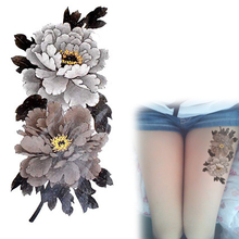China Peony Flower Tattoo Series Grey-White Waterproof Temporary Tattoos Stickers Arm Leg Tatto YM-X226(China (Mainland))