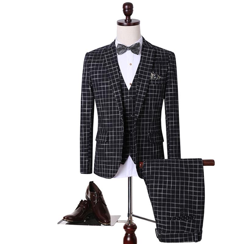2016 NEW Autumn winter grid men suits jacket blazer slim fit blue pants vest wedding groom dress ...