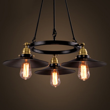 American New industrial Vintage Iron Chandelier With 3 Edison Bulbs Light Fixtures Living room Decoration(China (Mainland))